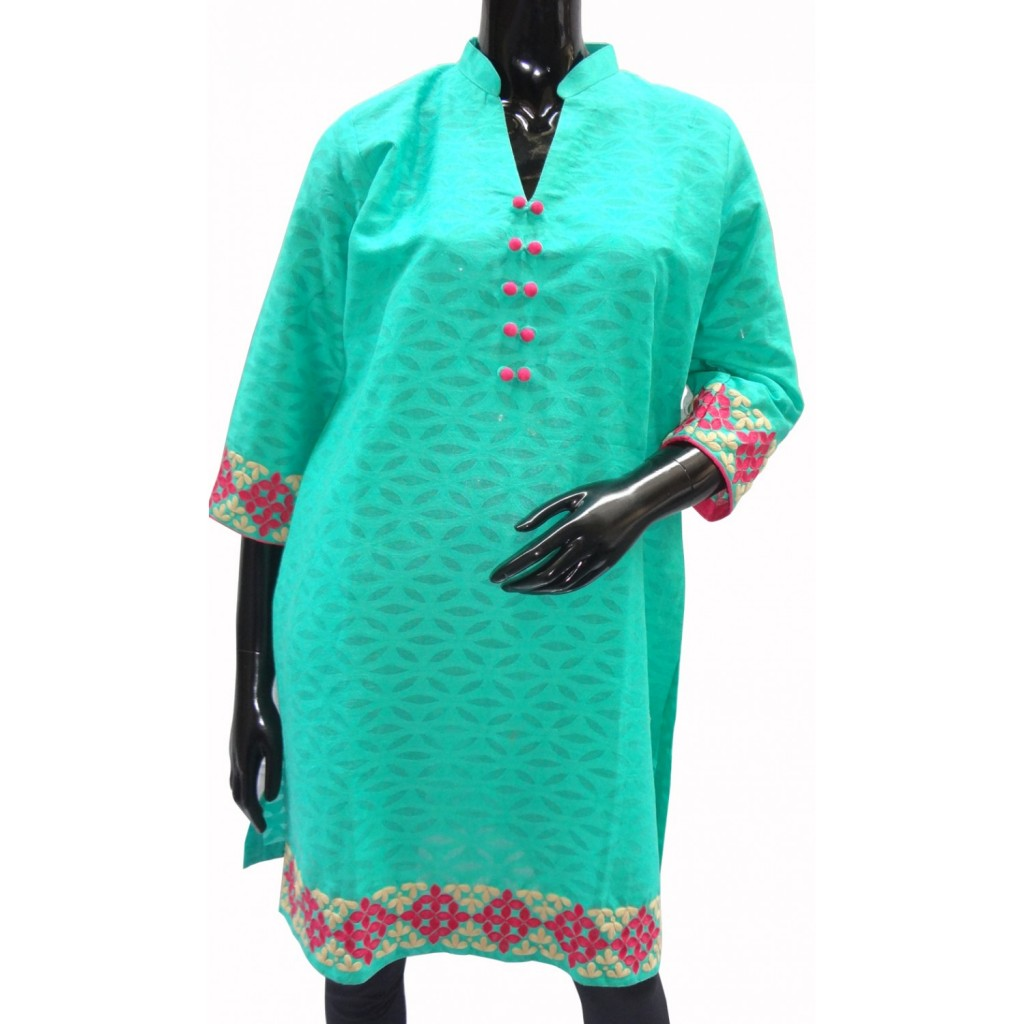 Sea blue tunic-style kurti in cotton