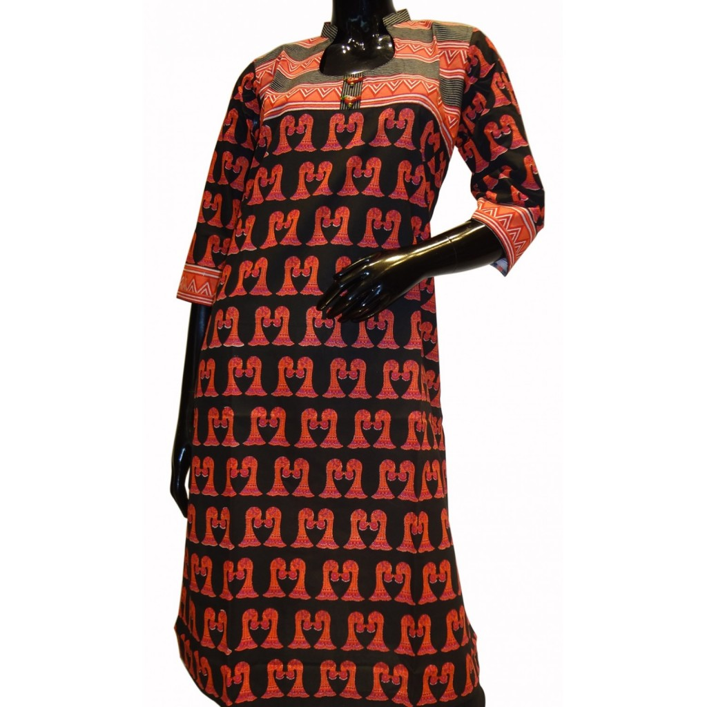 Printed cotton tunic in black