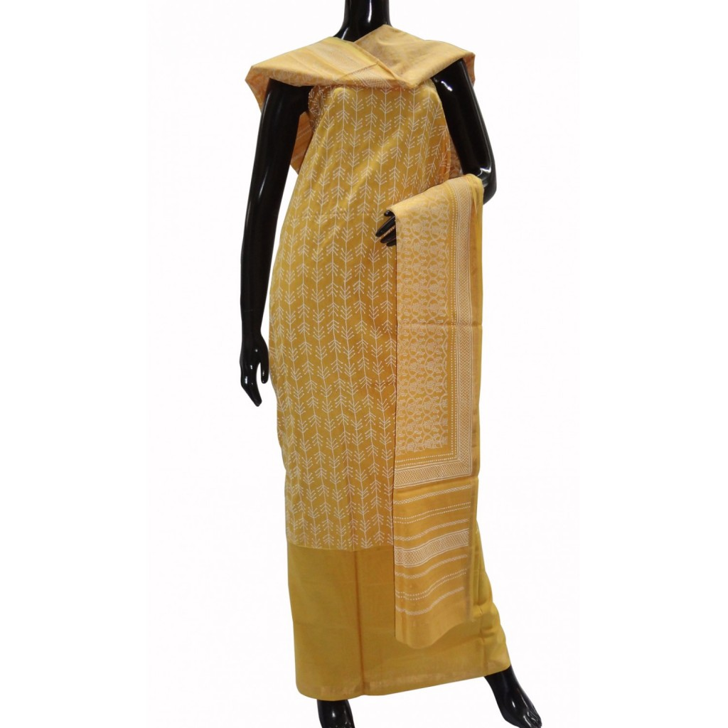 Mango yellow Maheshwari cotton suit