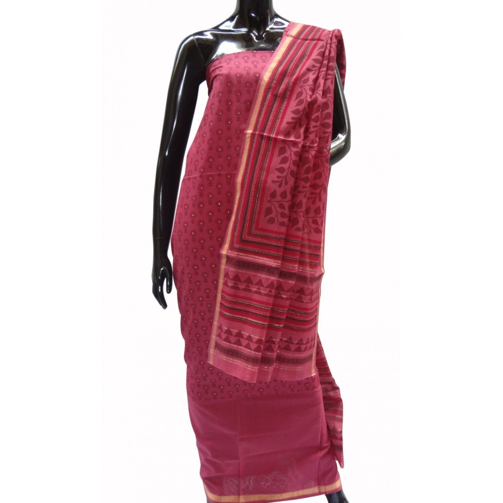 Printed suit in Maheshwari cotton