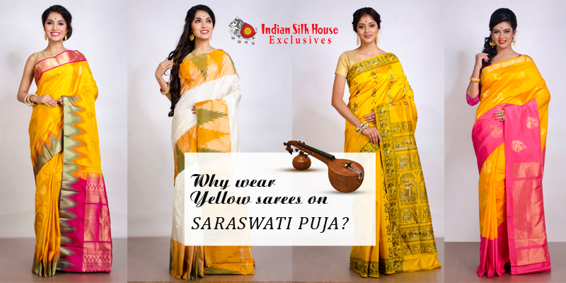 Indian Silk House Exclusives yellow sarees