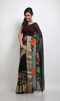 BLACK CHIFFON EMBROIDERY SAREE