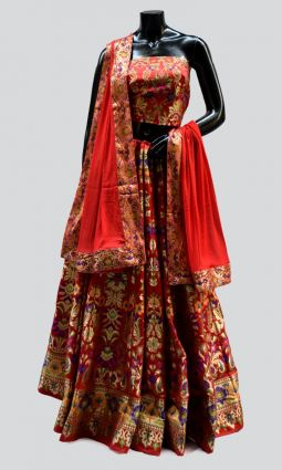BROCADE UNSTITCHED LEHENGA